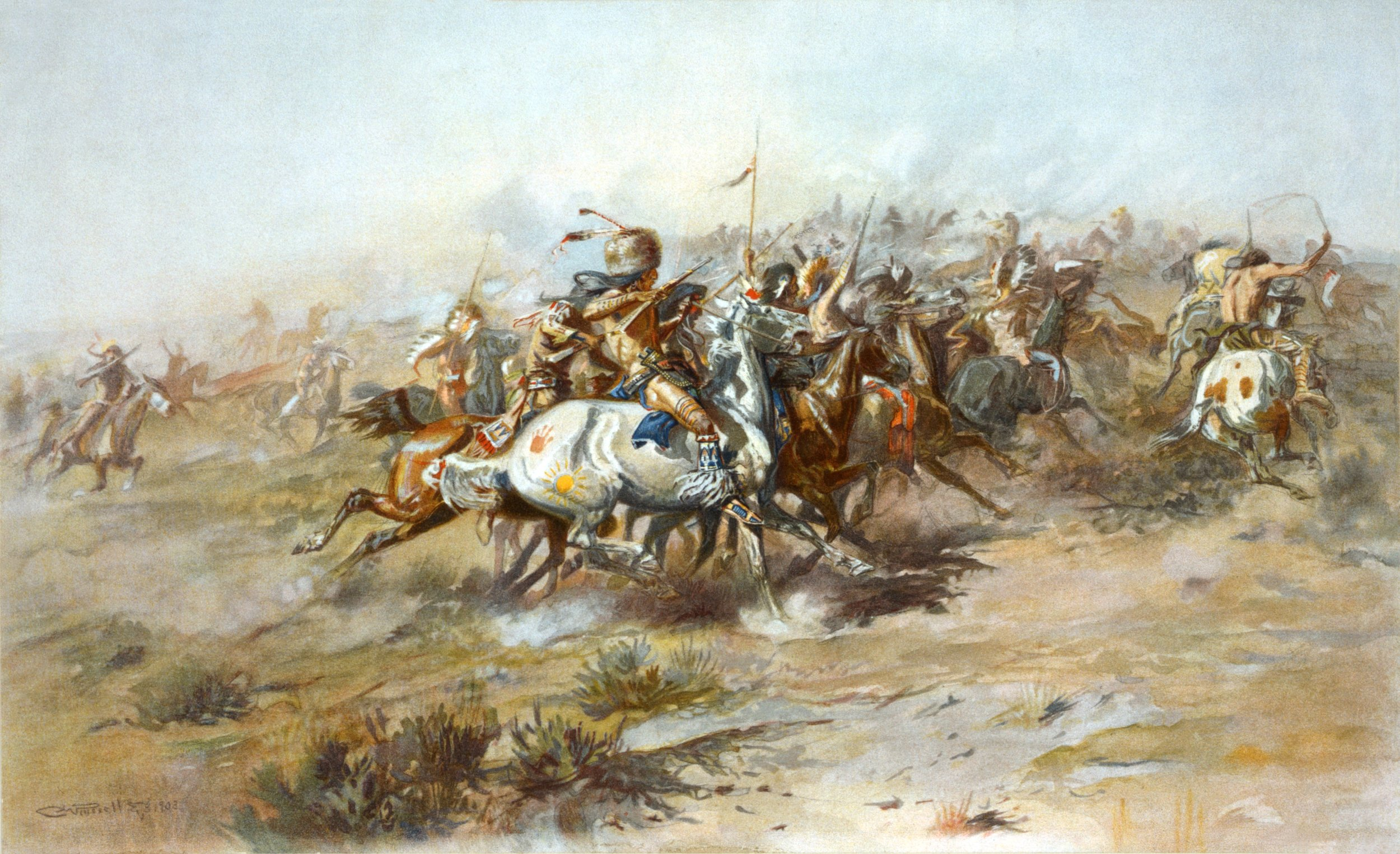 """The Custer Fight"" by Charles Marion Russell. (Public Domain)"