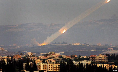 Katyusha Rockets fired at Israel during the 2006 war in Southern Lebanon