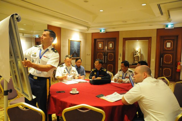Participants in Angkor Opening 2016, an exercise designed to build partnerships, interoperability, and readiness in humanitarian assistance and disaster relief port opening operations. (Master Sgt. Mary E. Ferguson/U.S. Army Photo)