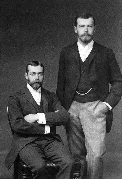 Cousins Tsar Nicholas II of Russia right and the future George V seated