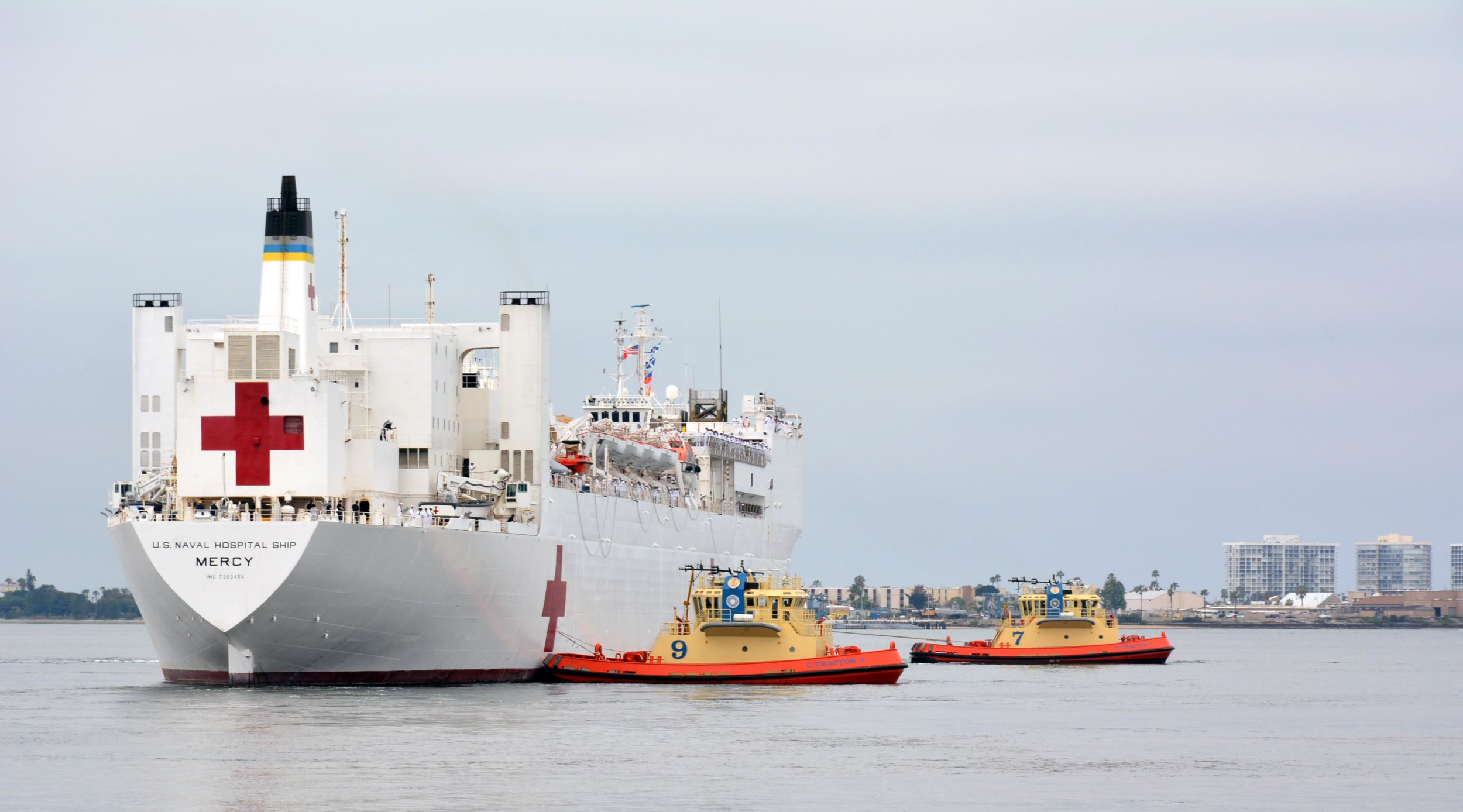 USNS Mercy (T-AH 19) departing San Diego to participate in Pacific Partnership 2016.
