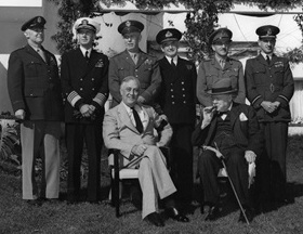 Roosevelt, Churchill, and the Combined Chiefs of Staff at Casablanca in 1943.