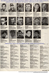 First fugitives poster, published by NATO, 1996 (ICTY)