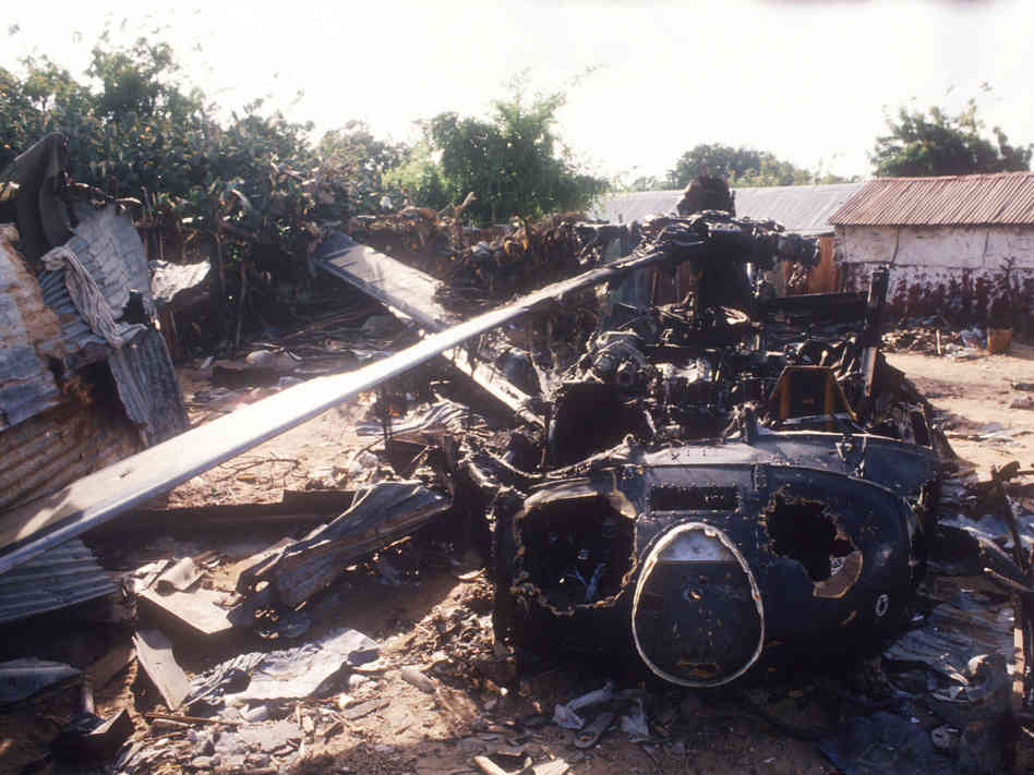 Crash site of the Black Hawk helicopter shot down in the First Battle of Mogadishu, October 1993 (Mustafa Abdi | AFP | Getty Images)