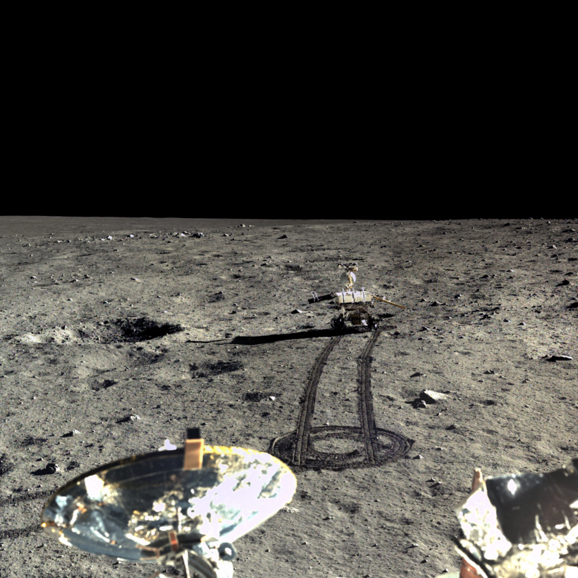 China's Chang 3 lander (foreground) captured these images of the lunar surface and the Yutu, literally Jade Rabbit, rover. (Chinese Academy of Sciences | China National Space Administration | The Science and Application Center for Moon and Deepspace Exploration |  Emily Lakdawalla )