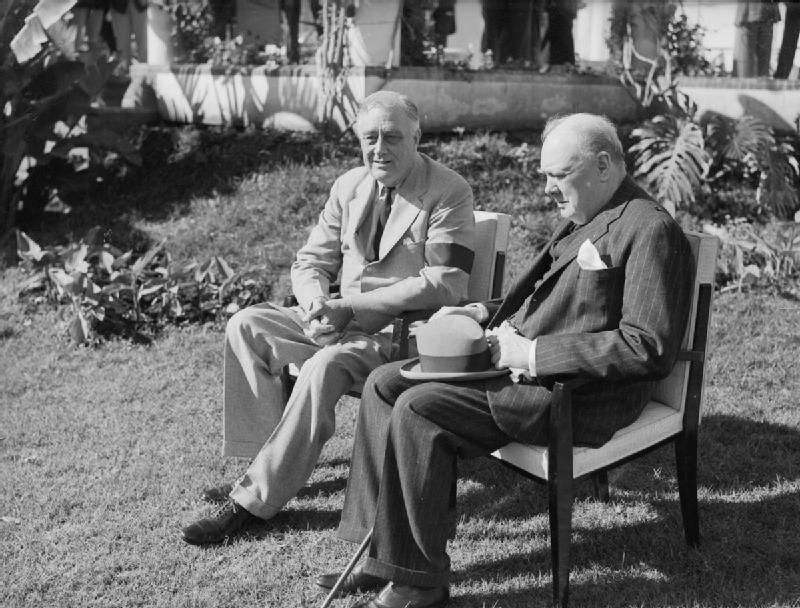"""Roosevelt and Churchill at the Allied Conference in Casablanca in 1943, where """"unconditional surrender"""" was made the objective against Germany (Wikimedia)"""
