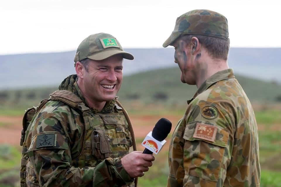 Today co-host Karl Stefanovic interviews Corporal Nicholas Tison during his visit to Exercise Hamel 2016. (1st Brigade, Australian Army)