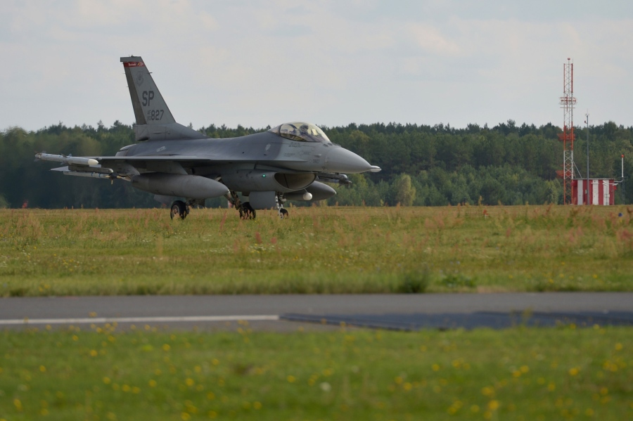 A USAF F-16 from Spangdahlem Air Base, Germany, training at Lask Air Base, Poland, Thursday, Sept. 10, 2015. (Michael Abrams/Stars and Stripes)