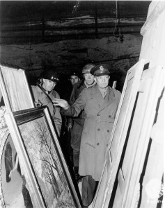 Generals Dwight D. Eisenhower and George Patton, inspect artworks rescued by the Monuments Men.(National Archives)