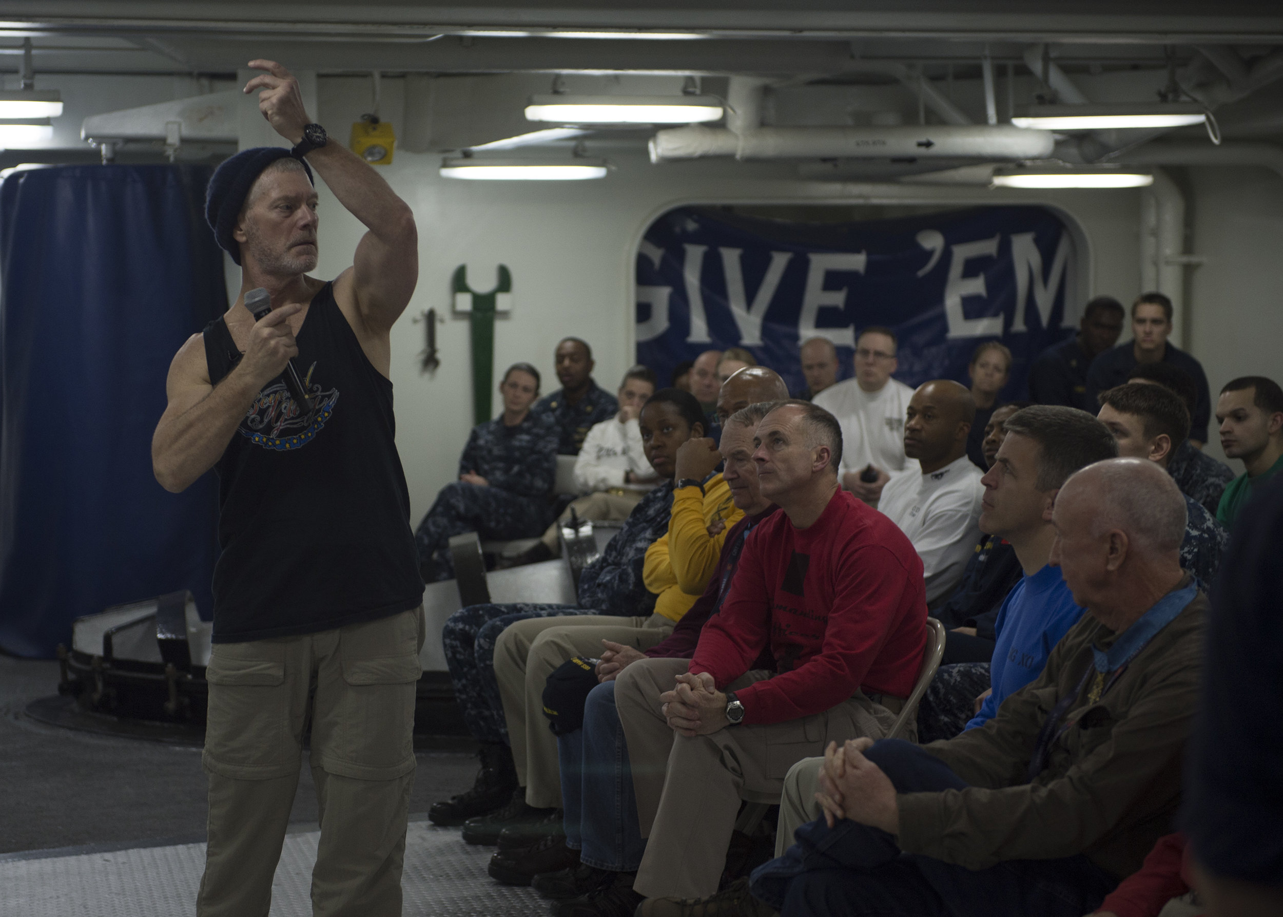 Actor Stephen Lang performs his one-man show, Beyond Glory aboard the aircraft carrier USS Harry S. Truman. (Shane A. Jackson/U.S. Navy Photo)