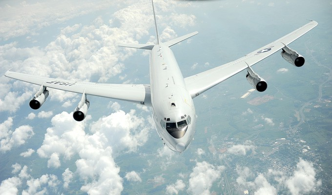 An E-8C Joint STARS from the 116th Air Control Wing, Robins Air Force Base, Ga., pulls away, May 1, 2012, after refueling from a KC-135 Stratotanker with the 459th Air Refueling Wing, Joint Base Andrews, Md.(Photo: MSgt. Jeremy Lock/USAF)