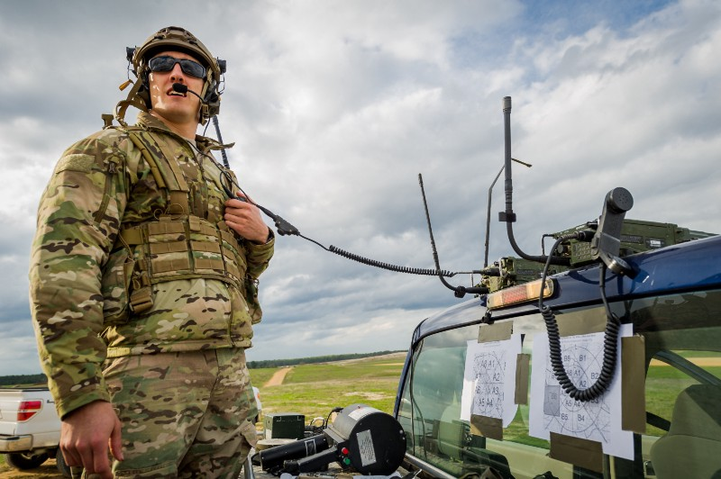Senior Airmen Brian Colt Gass monitors the air space and weather conditions around the Geronimo landing zone March 14, 2014, at the Joint Readiness Training Center, Fort Polk, La. (Photo: MSgt. John R. Nimmo/USAF)