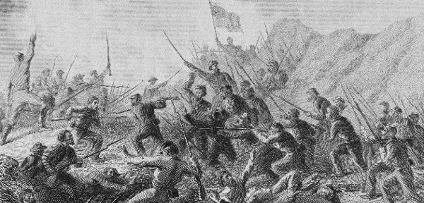 A depiction of bitter hand-to-hand fighting at Vicksburg, Miss., in 1861. Soldiers of the Fourth Minnesota Volunteer Infantry Regiment later played a crucial role in giving Union forces control of the war's Western Theater. (AP)