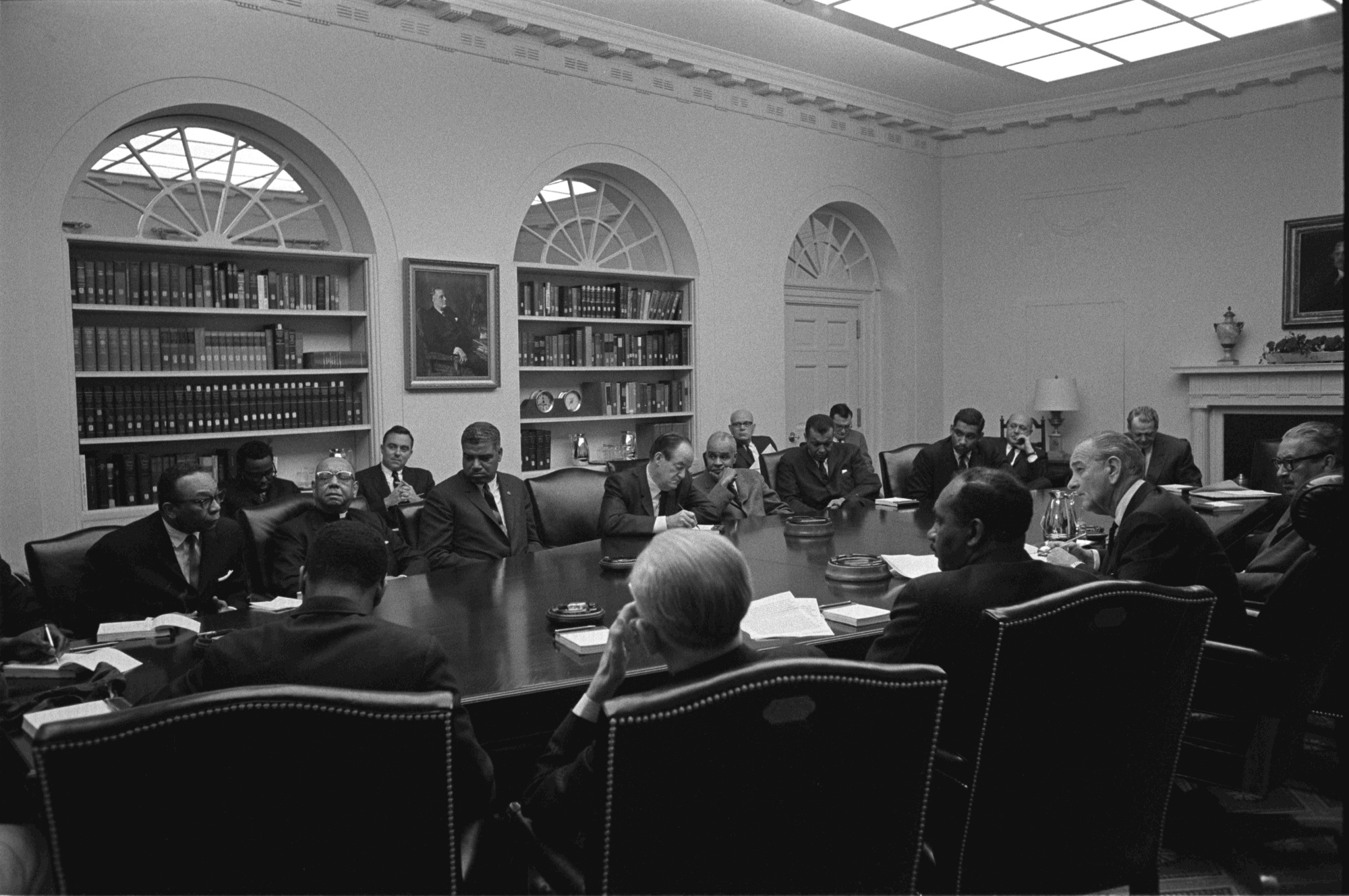 President Lyndon B. Johnson meets with civil rights leaders a week before the passing of the Civil Rights Act of 1968. (Yoichi Okamoto/LBJ Library)