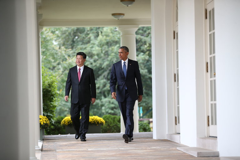 President Obama and President Xi Jinping of China during a state visit by Mr. Xi. The two leaders announced an agreement to crack down on cyberespionage.(Doug Mills/The New York Times)