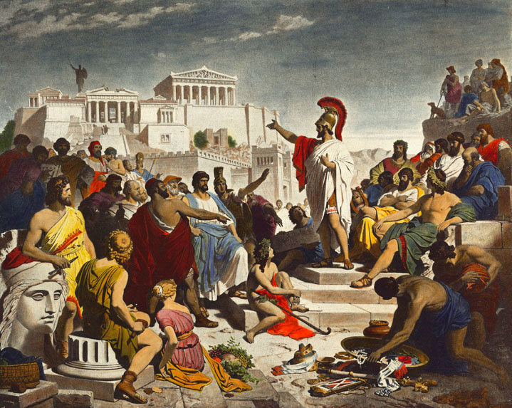 """What I would prefer is that you should fix your eyes every day on the greatness of Athens as she really is, and should fall in love with her. When you realize her greatness, then reflect that what made her great was men with a spirit of adventure, men who knew their duty, men who were ashamed to fall below a certain standard."" Painting of ""Pericles' Funeral Oration"" by Philipp Foltz (Wikimedia)."