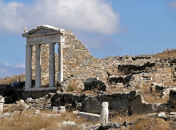 Temple on the island of Delos. The treasury of the Delian League was stored in the Temple of Appollon at Delos. (Study.com)