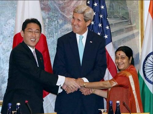 Japanese Minister of Foreign Affairs Fumio Kishida, U.S. Secretary of State John Kerry, and Indian External Affairs Minister Sushma Swaraj, September 2015.