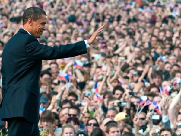 U.S. President Barack Obama waves after speaking at Prague Castle