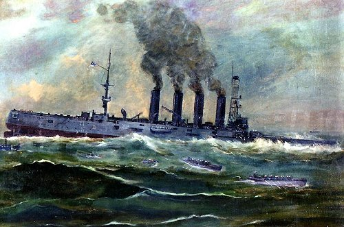 A 1920 watercolor depicting the sinking of  USS San Diego in 1918 by Francis Christian Muller. It depicts the ship sinking off Fire Island, New York, after she was torpedoed by the German submarine U-156, 19 July 1918. (Wikimedia)