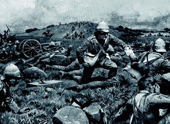 A British convoy under attack by mounted Boer guerrillas - South Africa, 1901. ( Military History )
