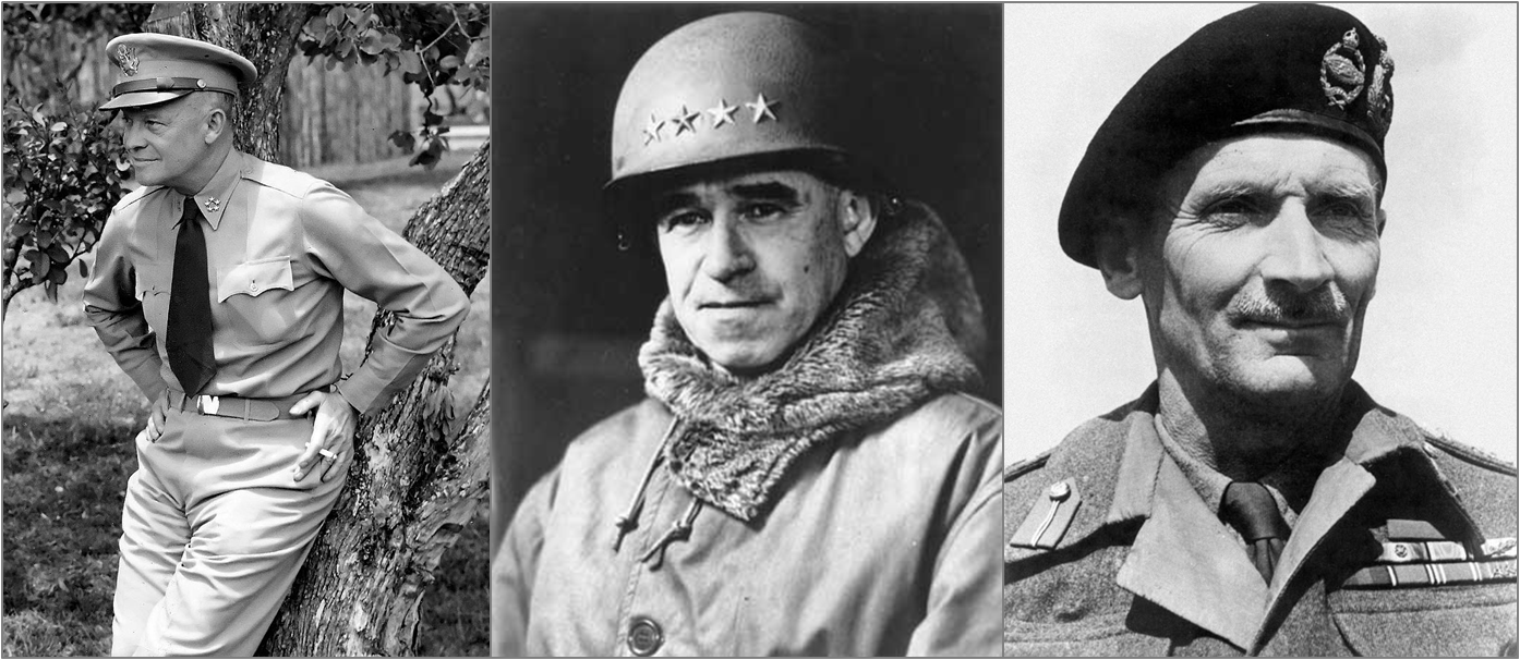 Generals Eisenhower, Bradley, and Montgomery (Wikimedia)