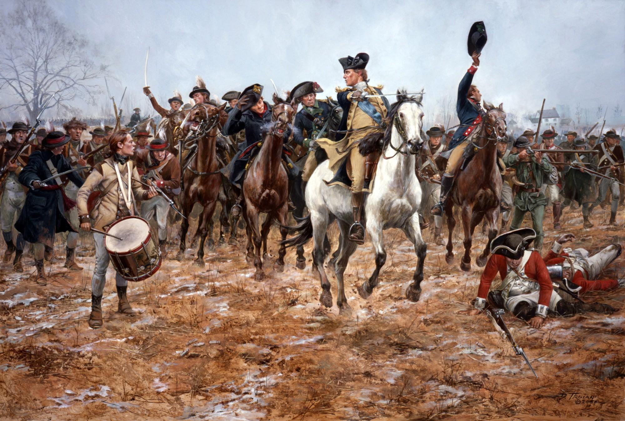 """""""Washington at the Battle of Princeton, 1777"""" by Don Troiani. (Mount Vernon)"""