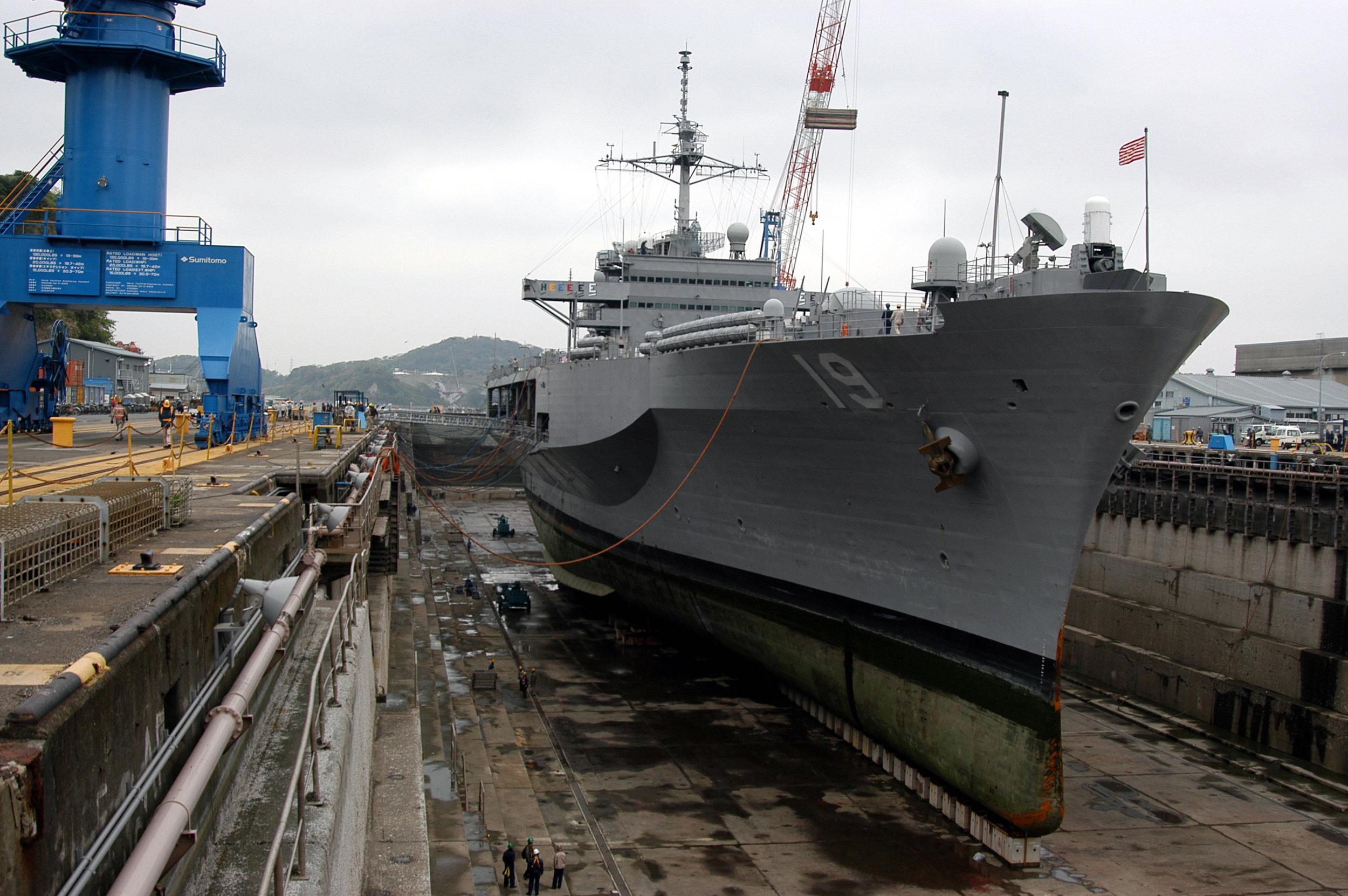 USS Blue Ridge in the Naval Ship Repair Facility dry dock located in Yokosuka, Japan. (Photographer's Mate 3rd Class Lowell Whitman/U.S. Navy Photo)