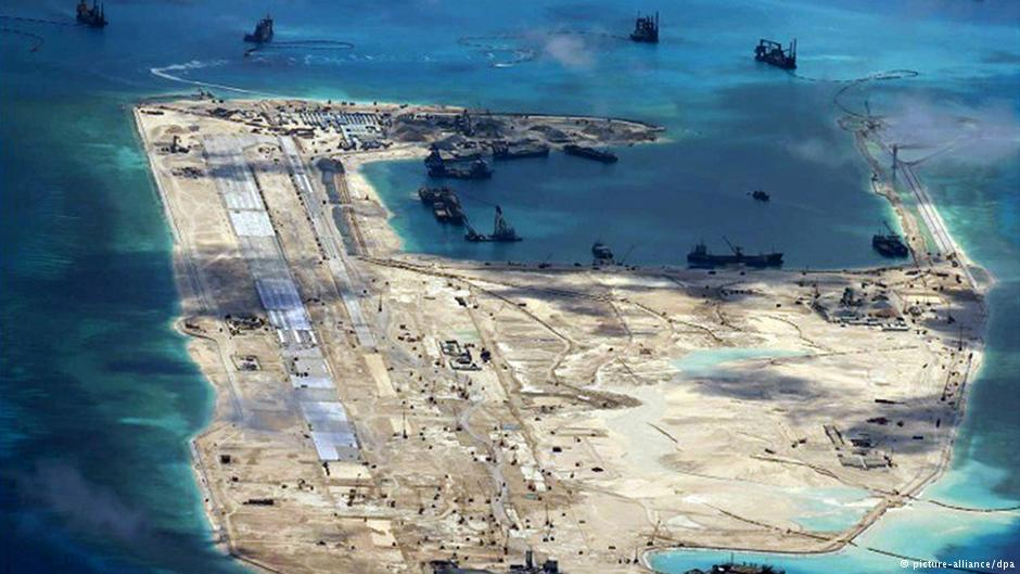 Chinese dredging and island-building operations in the South China Sea (Reuters/U.S. Navy)