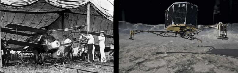 Left: Kettering Bug circa 1918. Right: Philae Lander, 2014. Photos Courtesy Wikimedia.