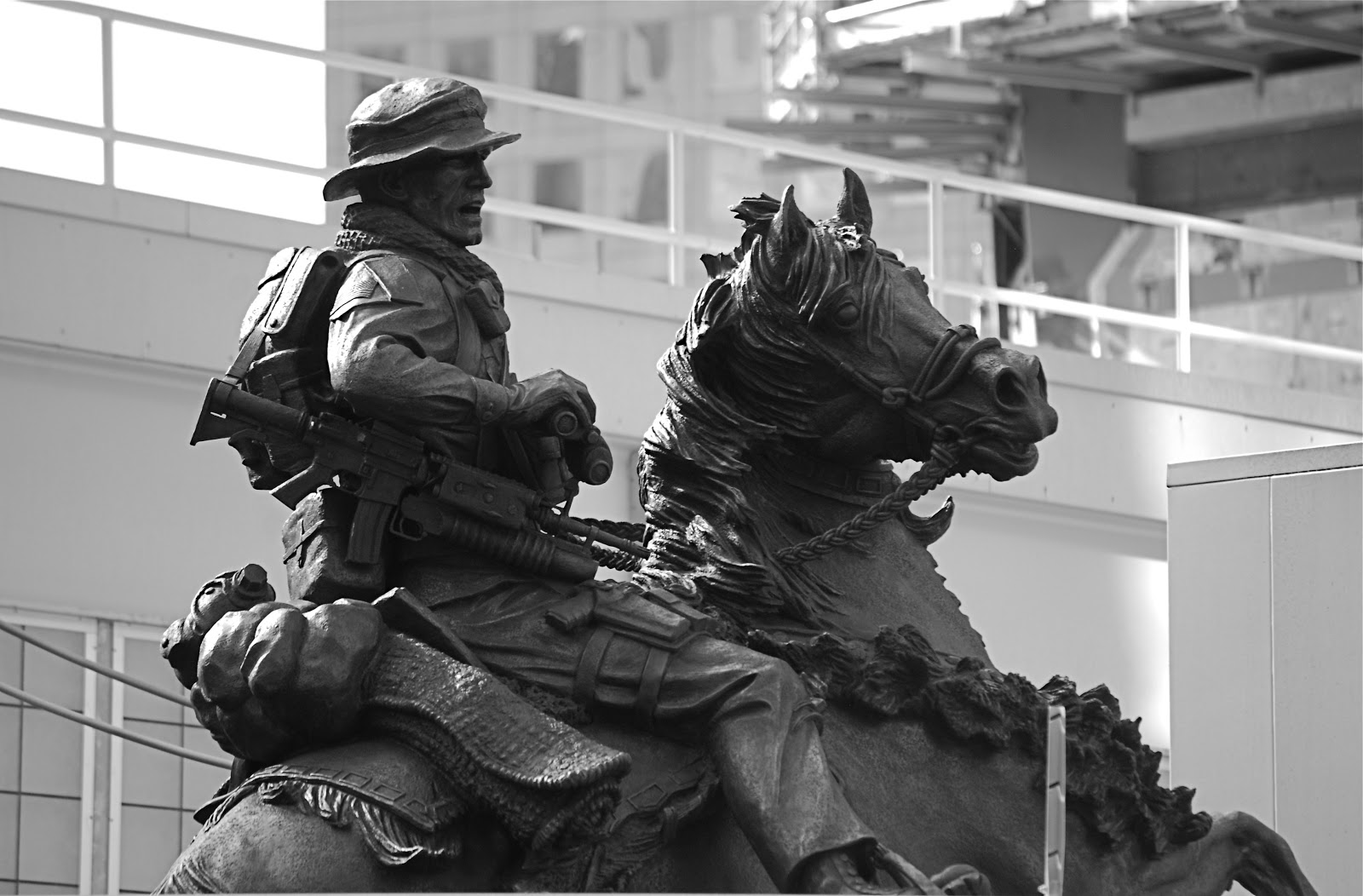 "A sculpture near Ground Zero titled, ""De Oppresso Liber""or ""To Liberate the Oppressed,"" the motto of the Special Forces."