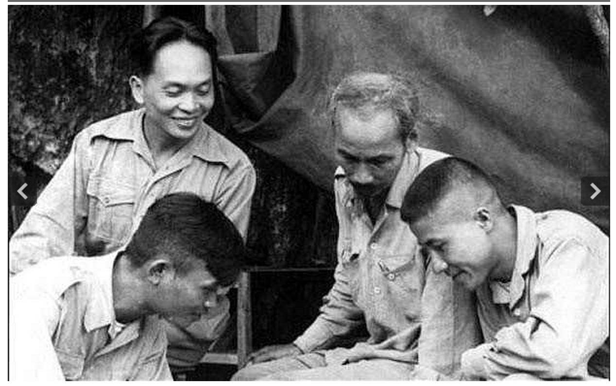 Vo Nguyen Giap (top left) with Ho Chi Minh (center) and other commanders, 1950