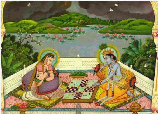 Radha and Krishna playing Chaturaji, an early form of chess in ancient India (Chess Odyssey)