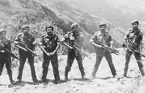 LTTE leaders training at Sirumalai camp in India in 1984. (Wikimedia)