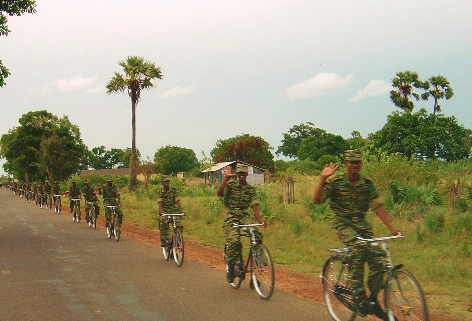 LTTE bike platoon north of Kilinochi, Sri Lanka, in 2004. (Wikimedia)