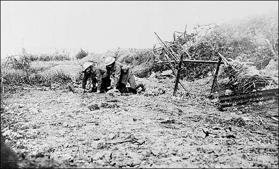 A wounded man is brought in at the battle of the Somme, 1916. (Newfoundland and Labrador in the First World War)