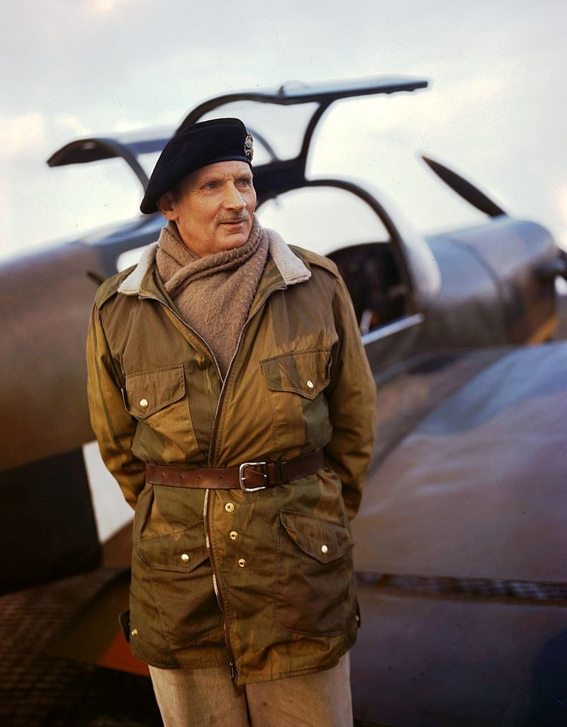 Wartime photograph of the then Sir Bernard Law Montgomery with his Miles Messenger aircraft (Wikimedia)