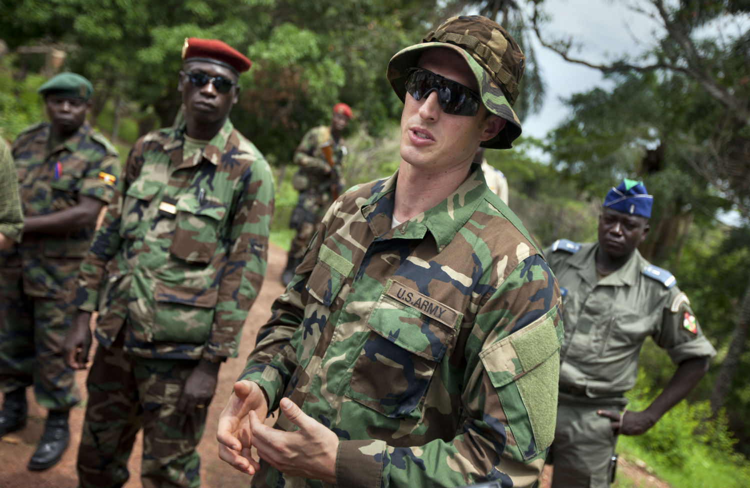 U.S. Army special forces with troops from the Central African Republic and Uganda in Obo, Central African Republic (Ben Curtis/AP)