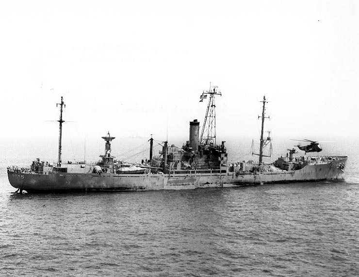 USS Liberty (AGTR-5) receives assistance from units of the Sixth Fleet, after she was attacked and seriously damaged by Israeli forces off the Sinai Peninsula on 8 June 1967. (U.S. Navy Photo/Wikimedia)