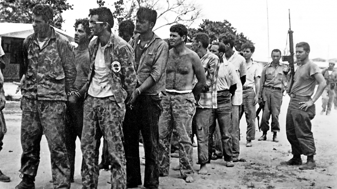 Members of Assault Brigade 2506, after their capture in the Bay of Pigs, Cuba. (Miguel Vinas/AFP/Getty Images)