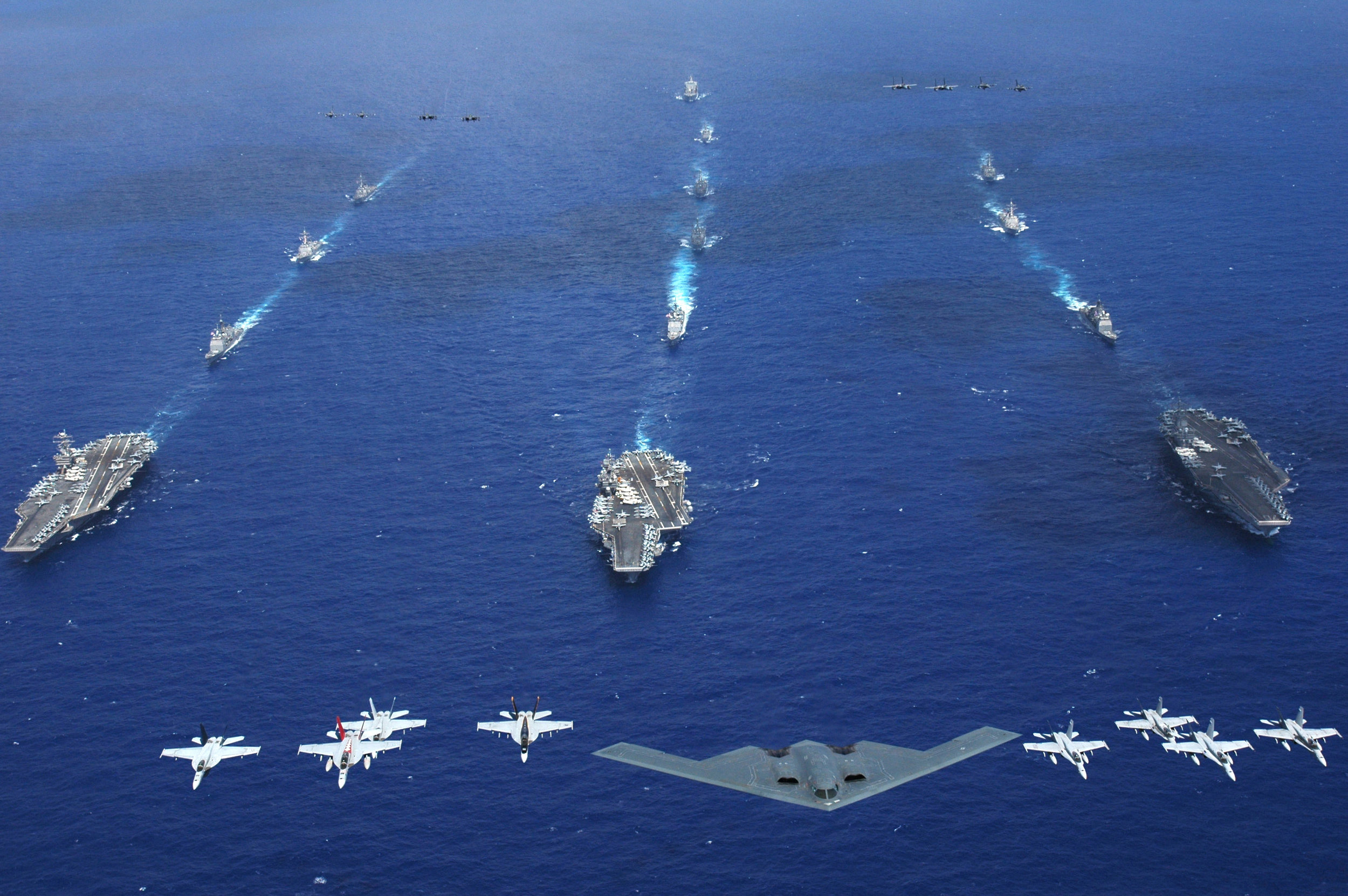 Planes and ships from the U.S. Air Force, Navy, and Marine Corps (U.S. Navy Photo)