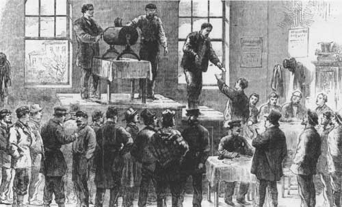Conscription via a draft lottery at a New York City draft office during the American Civil War. (National Parks Service)