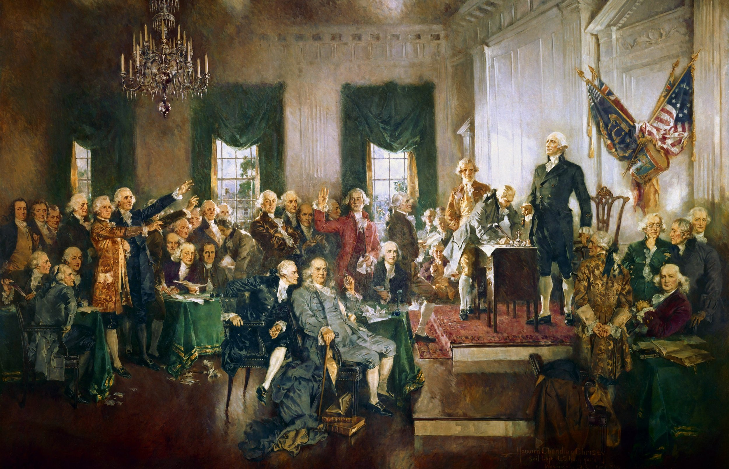 """""""Scene at the Signing of the Constitution of the United States"""" by Howard Chandler Christy (Wikimedia)"""