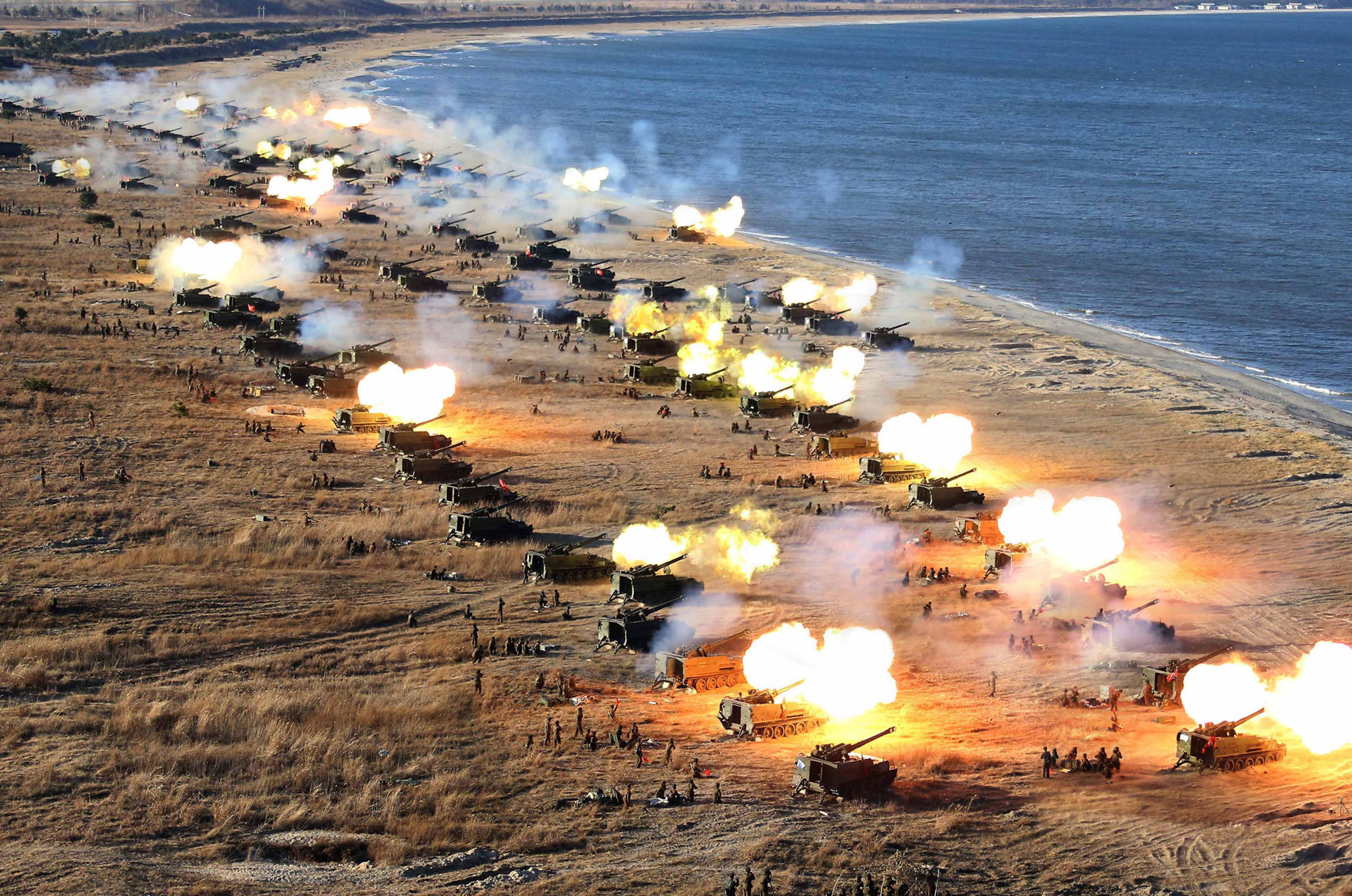 North Korean artillery exercise (KCNA/AFP)