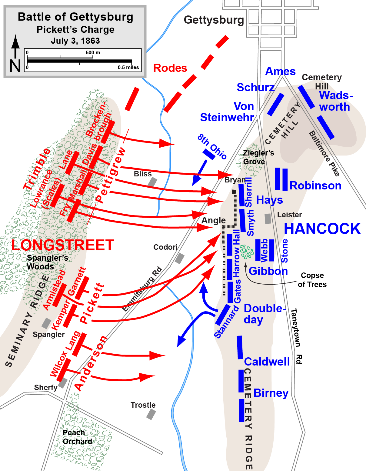 Map of  Pickett's Charge  of the  American Civil War . Drawn by Hal Jespersen. (Wikimedia Commons)
