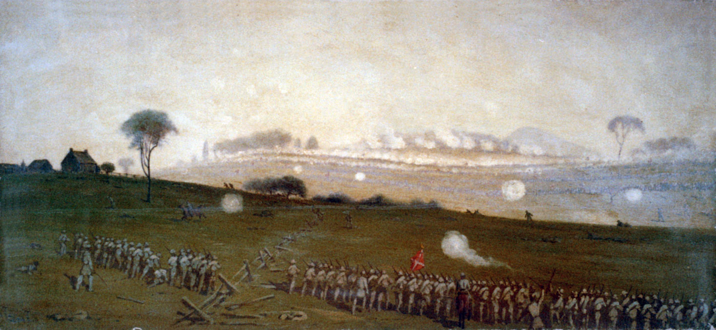 Pickett's Charge from a position on the Confederate line looking toward the Union lines, Ziegler's Grove on the left, clump of trees on right , painting by  Edwin Forbes .