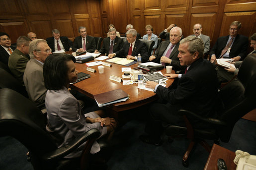 A meeting of the National Security Council under President George W. Bush (Wikimedia)