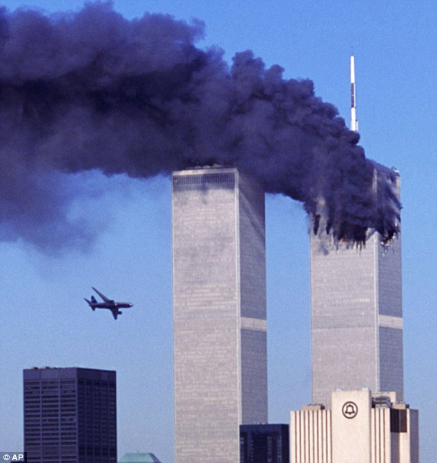 American Airlines Flight 11 crashes into the North Tower of the World Trade Center. (Robert Clark/AP Photo)