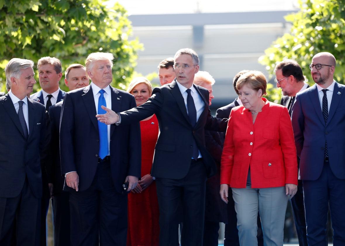 U.S. President Donald Trump with European leaders. (Christian Hartmann/Reuters)