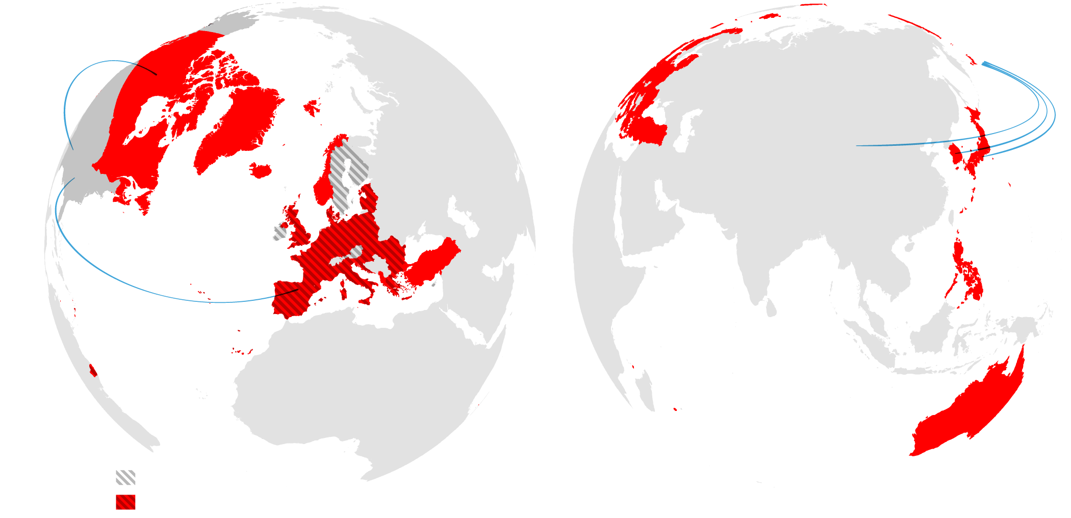 Countries with mutual defense treaties with the United States, and  trade in 2015  between the United States and major partners. (New York Times)